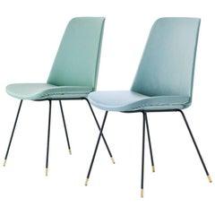 Pair of Italian Mid-Century Modern Easy Chairs Iron Brass and Green Skai Coat