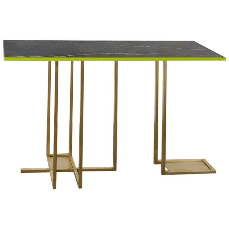In Line Brass and Marble Console, Rooms
