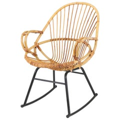 Mid-Century Modern Rattan Rocking Chair by Gebroeders Jonker for Rohe, 1960s