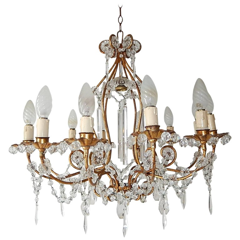 13 Lights French Rare Crystal Prisms Chandelier, circa 1920