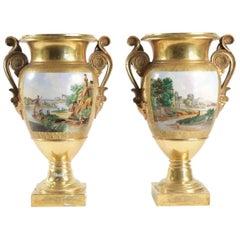 Pair of Vases in Old Paris Porcelain, Period Charles X