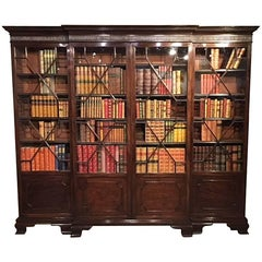 Mahogany George III Style Breakfront Bookcase