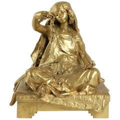 "Bronze by Louis Ernest Barrias, ""Little Girl Seated"""
