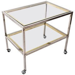 Minimalist Bar Service Trolley in Brass and Chrome, Two Glass Shelves, Italy