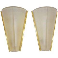 Mid-Century Modern Vintage Gold Glass German Wall Lights, 1960s
