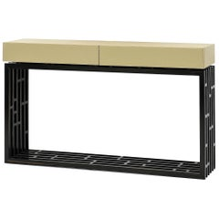 Contemporary Oriental Console in Macassar Ebony and High Quality Leather