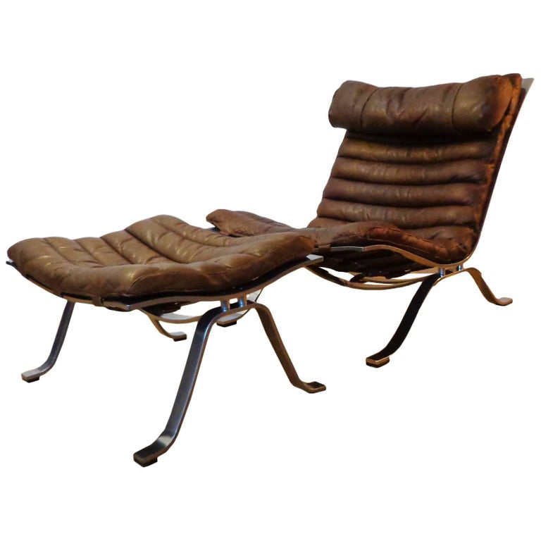 Arne Norell 'Ari' Lounge Chair and Ottoman in Original Cognac/Brown Leather