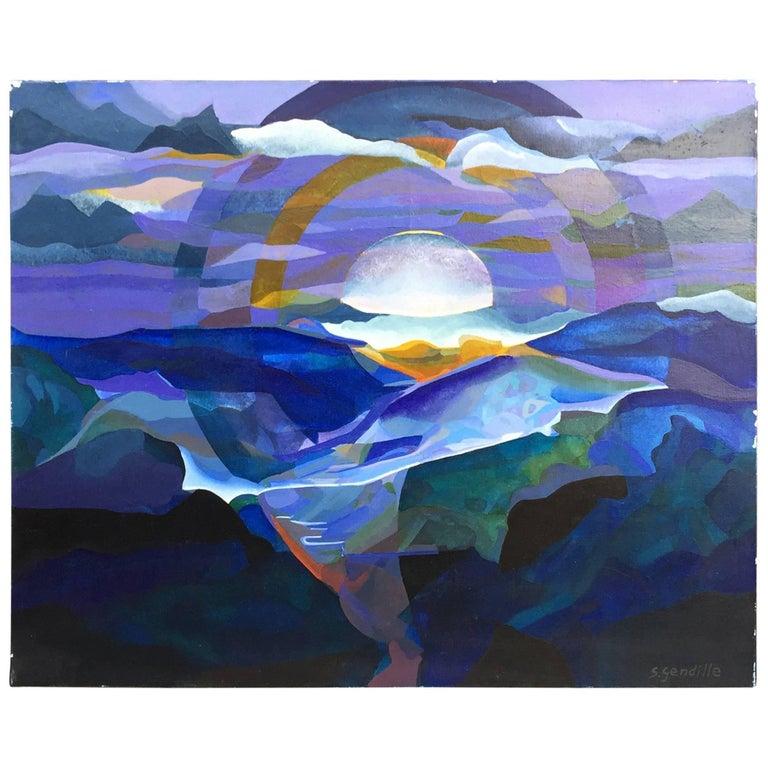 """Simone Gendille, """"coucher de soleil bleu"""", Acrylic on Canvas, Signed For Sale"""