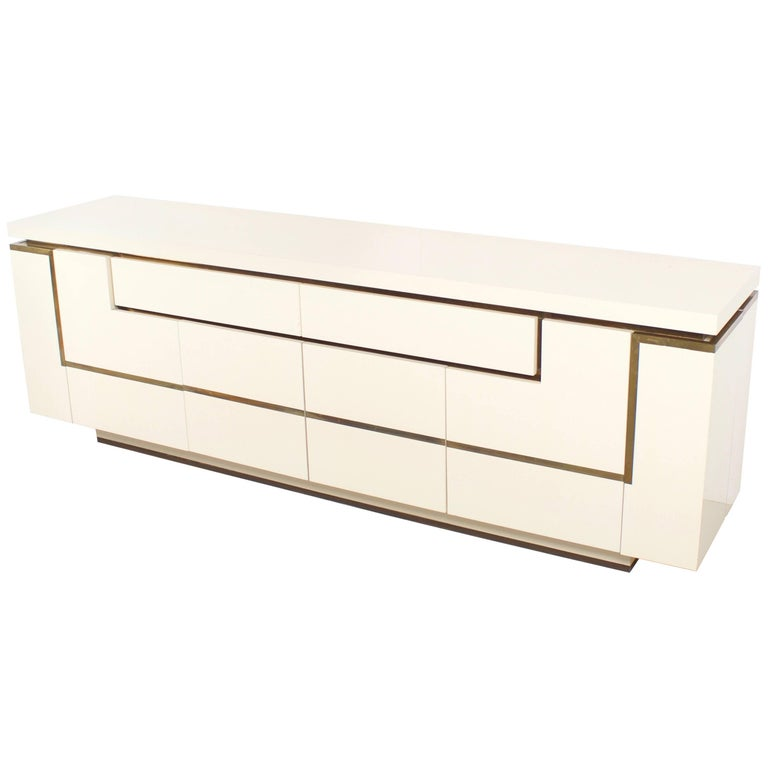 Sculptural 1970s Credenza / Sideboard by Jean-Claude Mahey, Lacquer and Brass