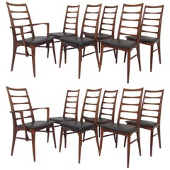 Set of 12 Koefoeds Hornslet Danish Teak Ladderback Dining Chairs, circa 1960s