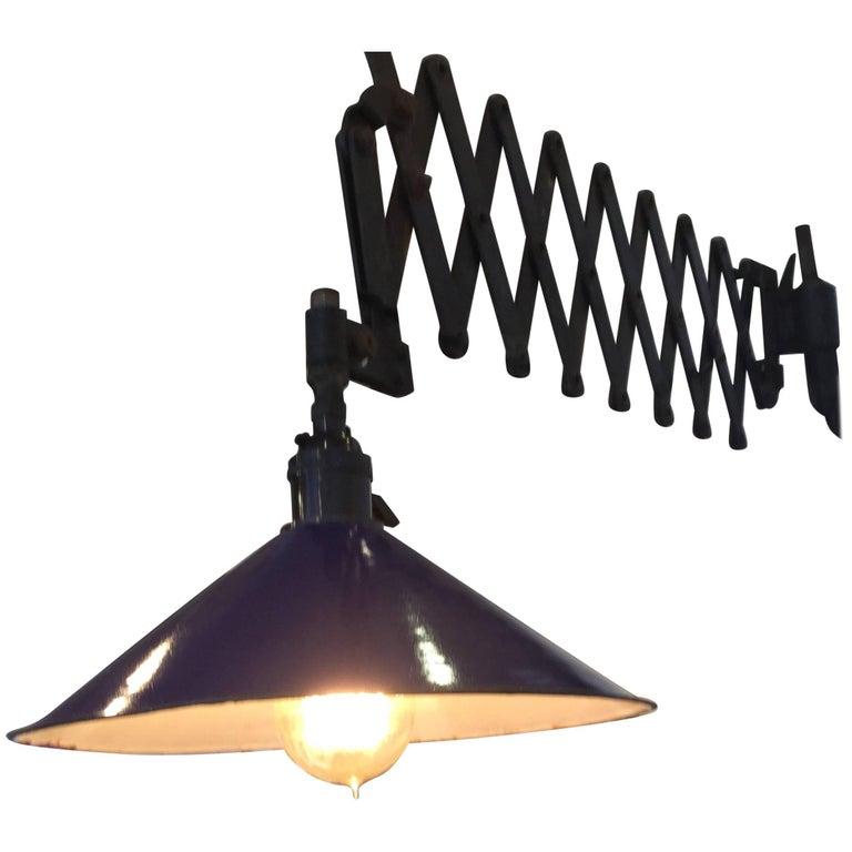 Industrial Scissor Lamp Blue Shade