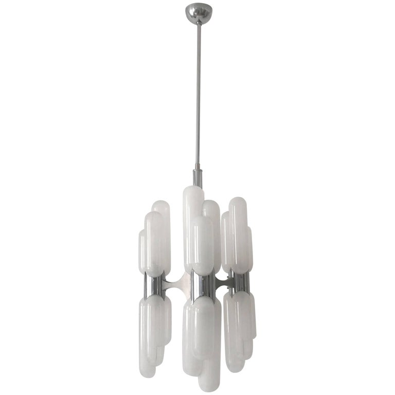Large Murano Glass Torpedo Chandelier by Carlo Nason for Mazzega, 1960s