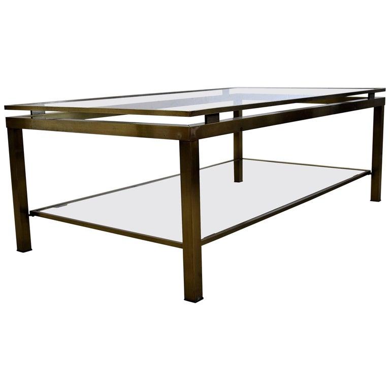 Maison Jansen Brass Mid-Century Modern Coffee Table
