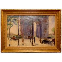 Pierre Sicard, Oil on Canvas, Arc de Triomphe in Paris, circa 1925