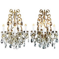 Pair of Five-Light Beaded Style Venetian Wall Sconces