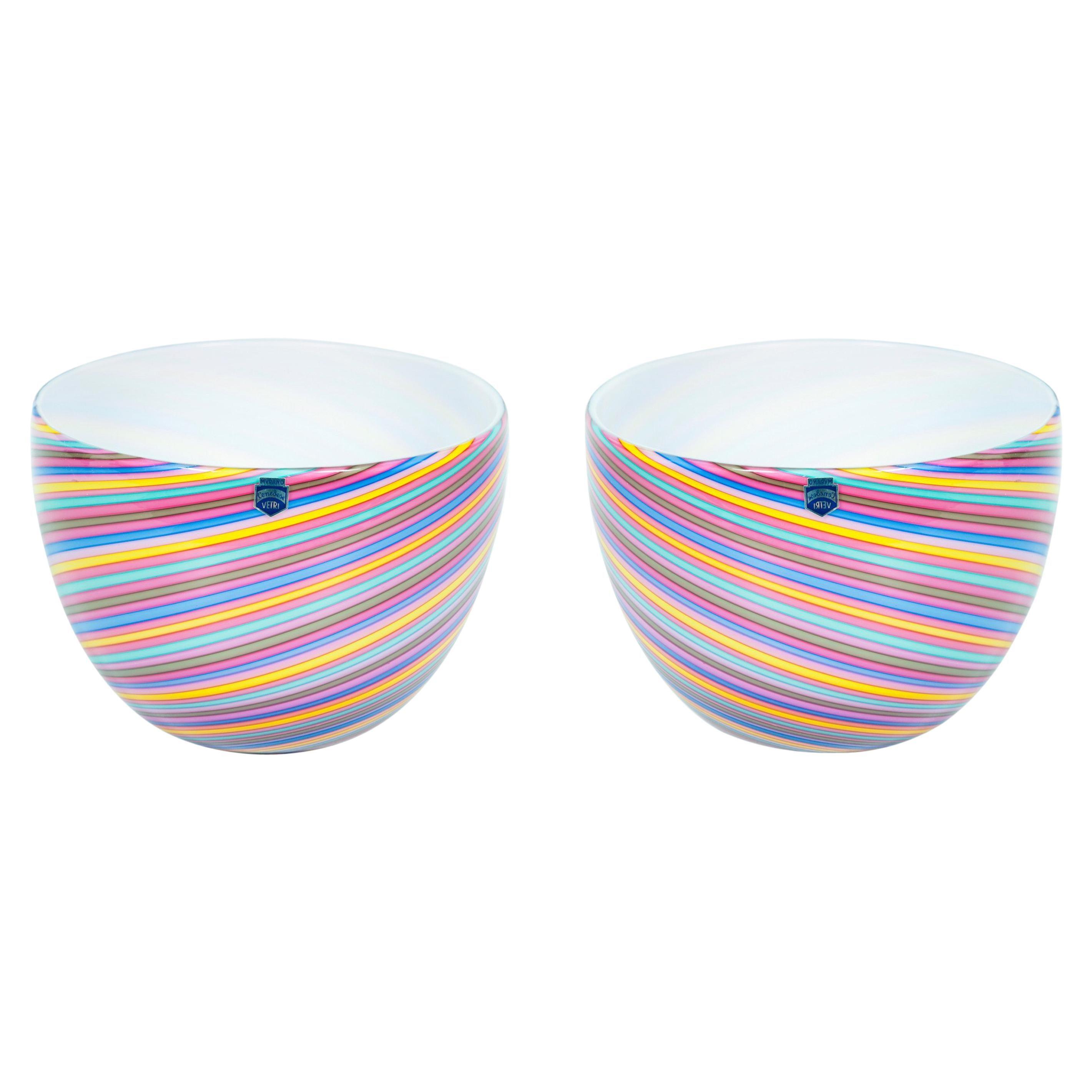 Pair of Italian Venetian Blown Murano Glass Bowls Pink Rainbow, Cenedese, 1970s