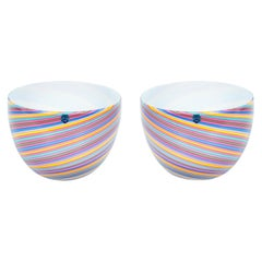 Pair of Italian Venetian Blown Murano Glass Bowls Pink Rainbow, Cenedese, 1970s