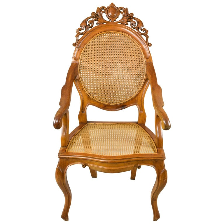 Vintage Carved Accent Chair with Caned Seat and Back For Sale