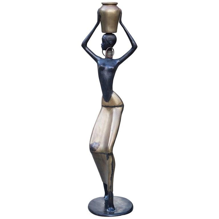Human Size African Woman Sculpture Figurine Hagenauer Style, 1950