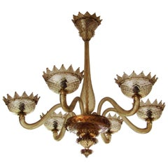 Midcentury Chandelier by Barovier & Toso, Murano, 1950