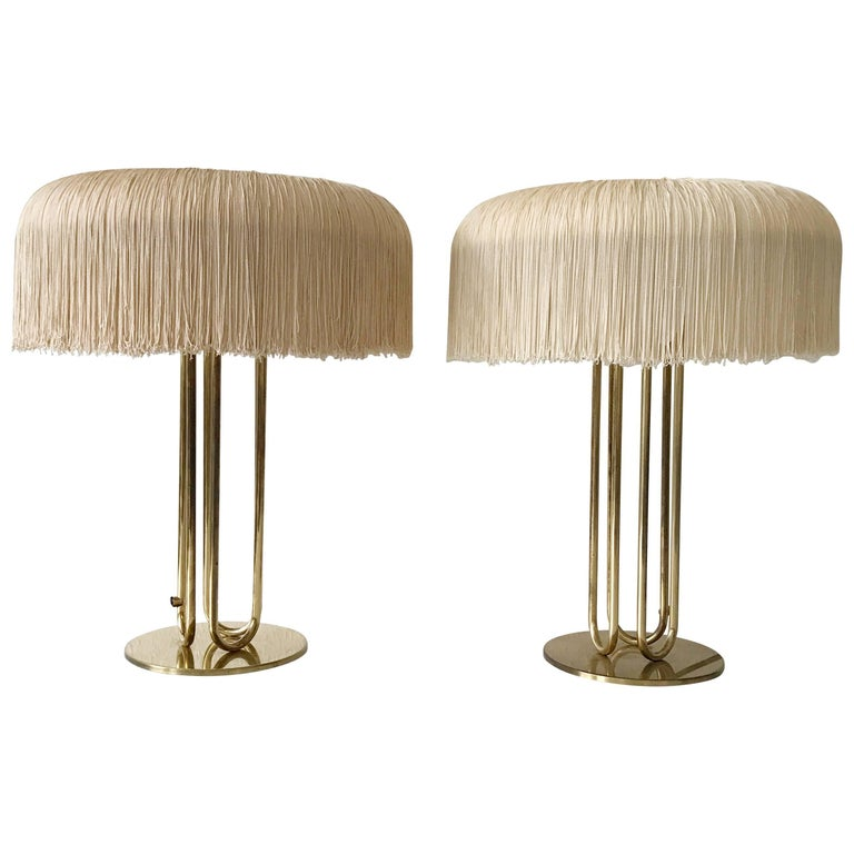 Pair of Silk Fringe Table Lamps by Hans-Agne Jakobsson Attributed, 1950s, Sweden