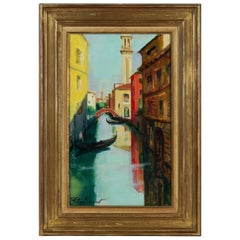 Pierre Sicard, Oil on Canvas, View of a Venice Bridge, circa 1920