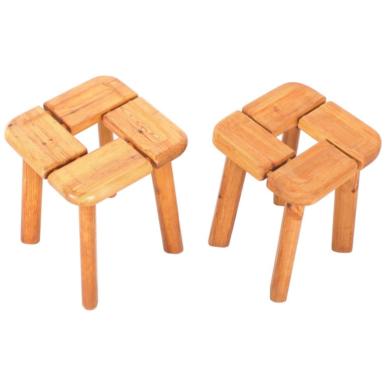 1/2 Pine Stools in the Style of Lisa Johansson-Pape
