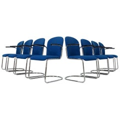 Set of Eight Blue Cantilever Chairs from WH Gispen Model 413 R, Dutch Originals