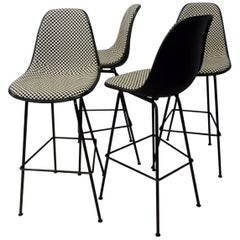 Four Eames Herman Miller Bar Stools with Girard black white Checkerboard Fabric