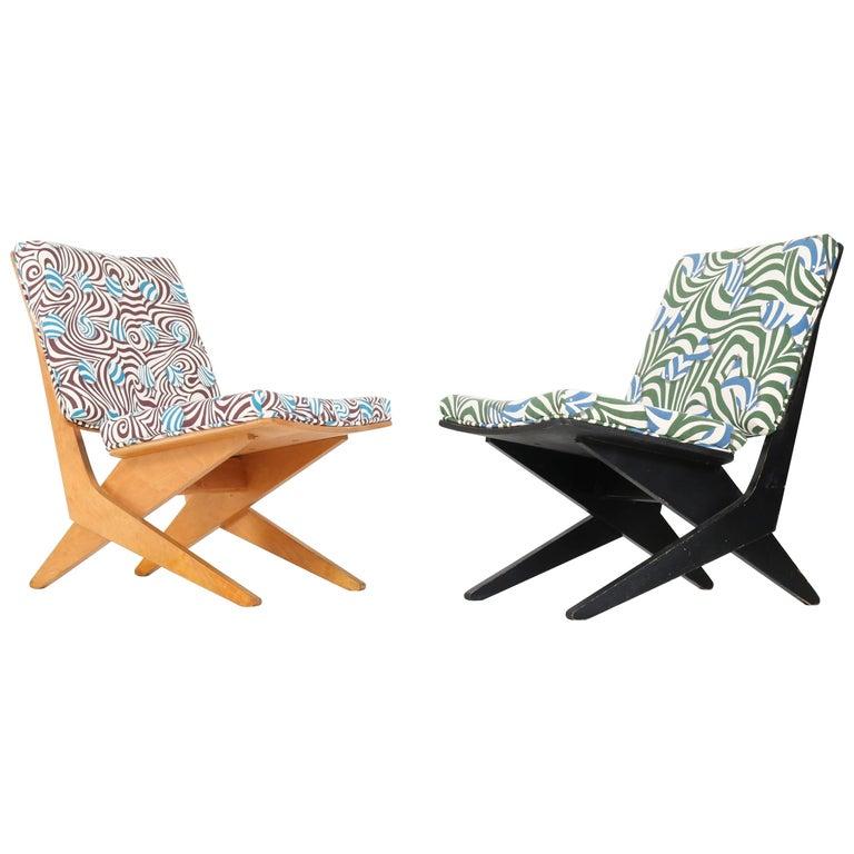 Pair of Mid-Century Modern FB18 Scissor Chairs by Jan Van Grunsven for Pastoe
