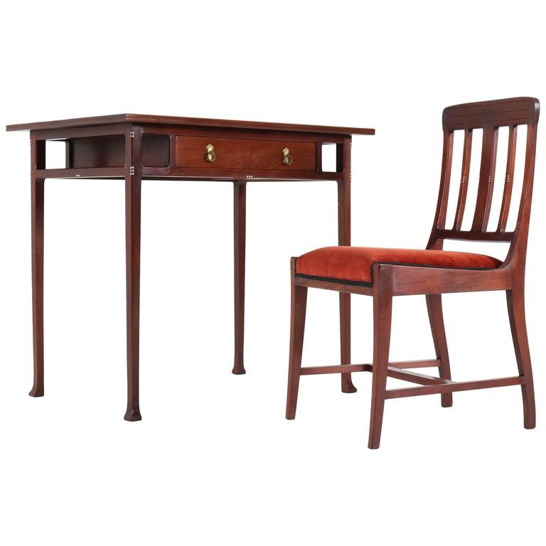 Dutch Mahogany Art Nouveau Writing Table and Chair by Karel Sluyterman, 1900s