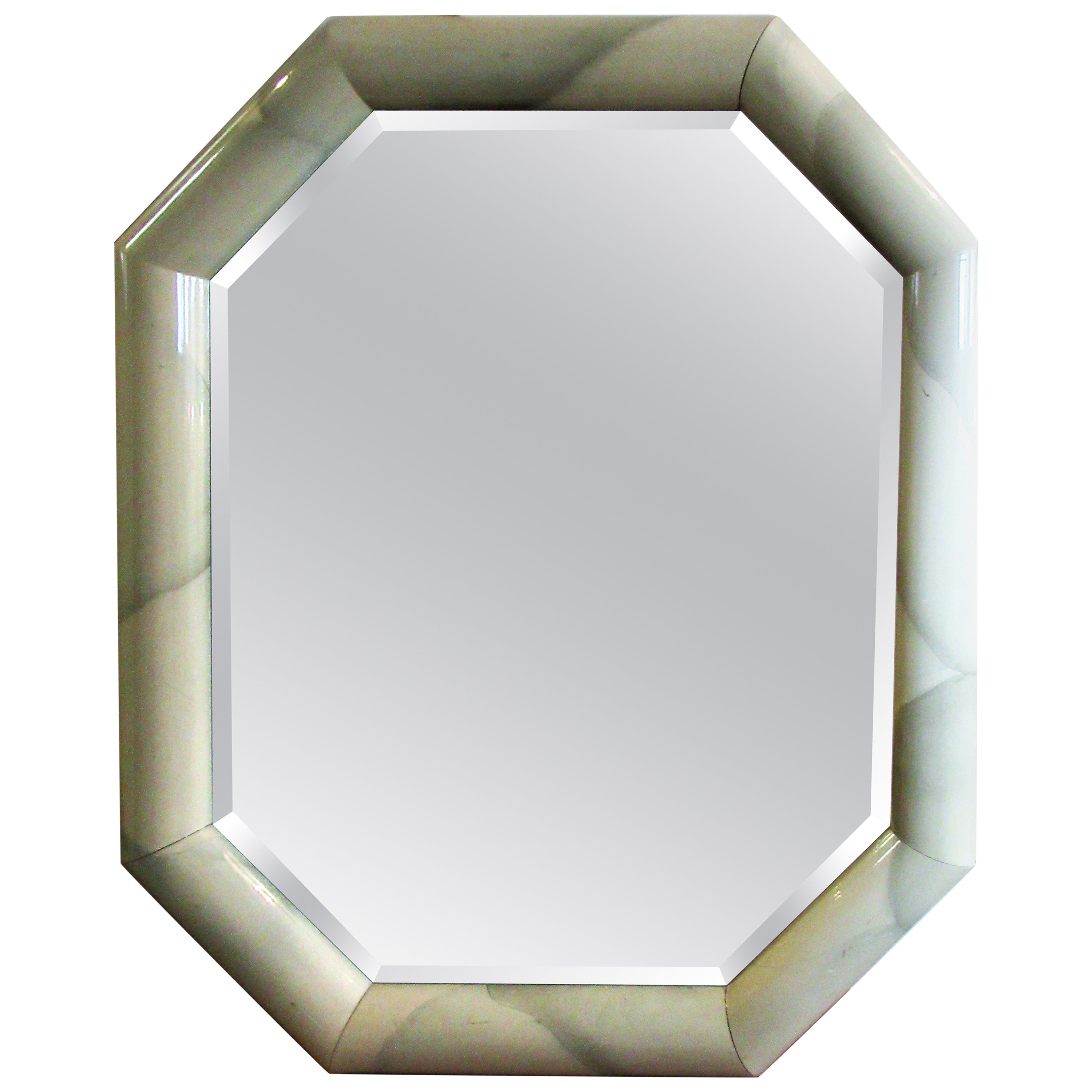 Large Lacquered Octagonal Mirror in the style of Karl Springer