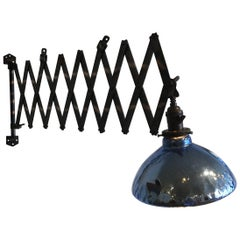 Industrial Scissor Lamp Japanned Blue Mercury Shade