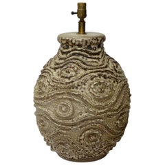 Large Bulbous Form Pottery Table Lamp with Raised Textured Design