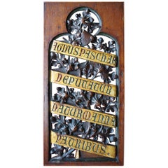 Hand-Carved and Gilt Gothic Revival Panel w. Easter Lamb Related Latin Phrase