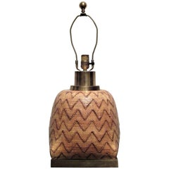 Snakeskin Basket Weave Glazed Ceramic Lamp by Chapman