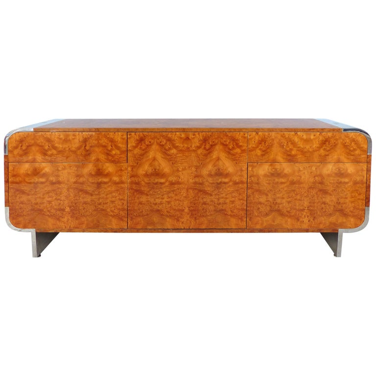 Mid-Century Modern Leon Rosen Pace Collection Burl wood and Chrome Credenza