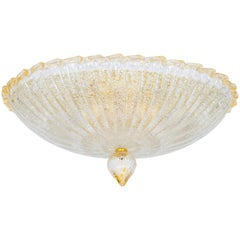 Italian Venetian, Flush Mount, Blown Murano Glass, Gold finishes, 20th