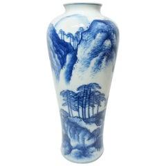 Japanese Indigo Blue Chinese Style Landscape on White Porcelain Imari Vase 1950s