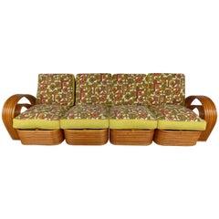 Paul Frankl Style Six-Band Rattan Sectional Sofa by Kosuga & Co., Ltd., Tokyo