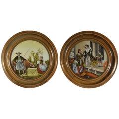 "Pair of Italian ""Églomisé"" Venetian Lady with Gondolier Peasants Fine Quality"