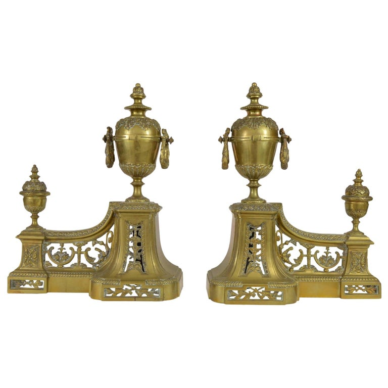 Pair of Antique French Louis XVI Style Bronze Andirons, 19th Century