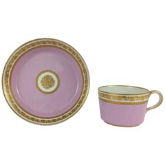 Vienna Soft Paste Gilt Porcelain Tea Cup with Saucer, Early 19th Century