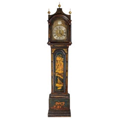 George II Blue Lacquered Tall Case Clock