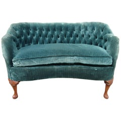 Lovely Petite Hollywood Regency Tufted Loveseat Sofa