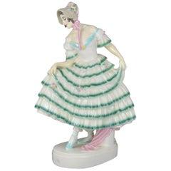 Art Deco Faience Figurine an Elegant Lady Keramos, Austria