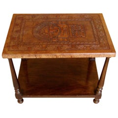 Mexican Tooled Leather-Topped Hardwood Occasional Table with Lower Shelf