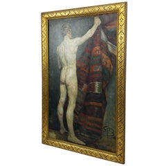 Paul Basilius Barth, circa 1930 Oil Canvas Male Back Nude Giltwood Frame