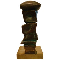 Mid Century Domenico Calabrone Signed Bronze Sculpture Italy Brazil Abstract