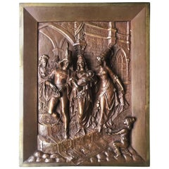 Late 1800s Bronze Wall Plaque by Leon Perzinka Depicting Birth Scene Celebration